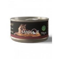 Корм Landor Adult для взрослых кошек, куриная грудка/утка, банка, 70 г