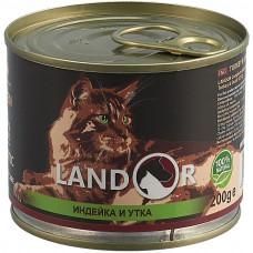 Корм  Landor Kitten для котят, индейка/утка, банка, 200 г