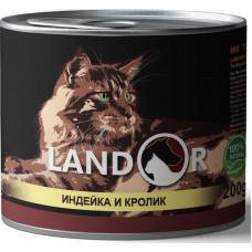 Корм Landor Adult для взрослых кошек, индейка/кролик, банка, 200 г