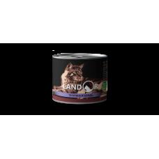 Корм Landor Senior для пожилых кошек, телятина/сельдь, банка, 200 г