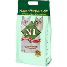 Наполнитель N1 Crystals, силикагелевый, антибактериальный, зеленый, 5 л, 2 кг
