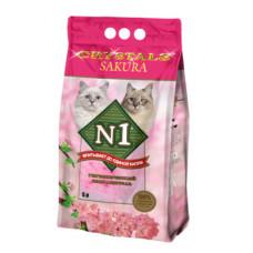 Наполнитель N1 Crystals Sakura, силикагелевый, сакура, 5 л, 2 кг