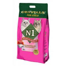 Наполнитель N1 Crystals for Girls, силикагелевый, для кошечек, розовый, 12.5 л, 5 кг