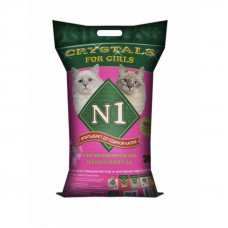 Наполнитель N1 Crystals for Girls, силикагелевый, для кошечек, розовый, 30 л, 12.2 кг