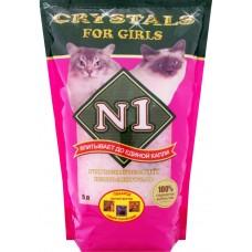 Наполнитель N1 Crystals for Girls, силикагелевый, для кошечек, розовый, 5 л, 2 кг