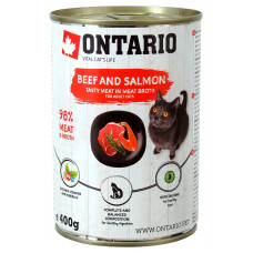 Корм Ontario для кошек, говядина/лосось, банка, 400 г