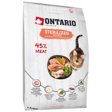 Корм Ontario Cat Sterilised Salmon для стерилизованных кошек, лосось, 6.5 кг