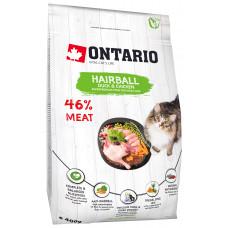 Корм Ontario Cat Hairball для вывода шерсти у кошек, утка/курица