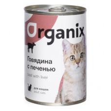Корм Organix для кошек, говядина/печень, банка, 410 г