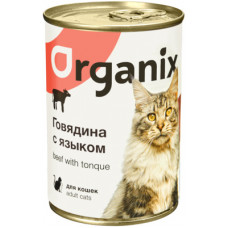 Корм Organix для кошек, говядина/язык, банка, 410 г