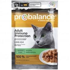 Корм ProBalance Immuno Protection для взрослых кошек, кролик, в соусе, пауч, 85 г