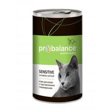 Корм ProBalance Sensitive для взрослых кошек с чувствительным пищеварением, банка, 415 г