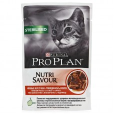Корм Pro Plan Sterilised для кастрированных кошек, говядина, соус, пауч, 85 г