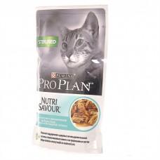 Корм Pro Plan Sterilised для кастрированных кошек, океаническая рыба, соус, пауч, 85 г