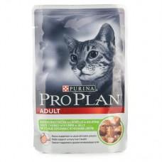 Корм ProPlan Adult для взрослых кошек, ягненок, желе, пауч, 85 г