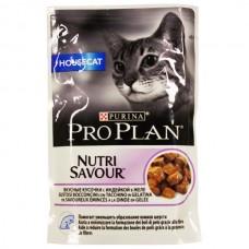 Корм Pro Plan Нouse cat для домашних кошек, индейка, желе, пауч, 85 г
