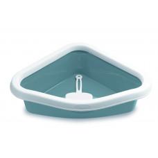 Туалет угловой Stefanplast Sprint Corner Toilette Blu Acciaio/Bianco, с рамкой и совочком, синий, 40*56*14 см