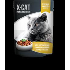 Корм X-CAT для кошек, телятина/индейка, в соусе, пауч, 85 г