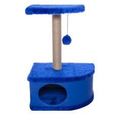 """Домик-когтеточка Yami-Yami """"Конфетти"""", угловой, синий, 49х37х70 см"""