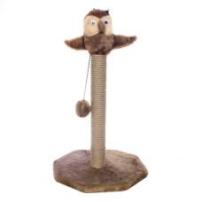 "Когтеточка Yami-Yami ""Сова на столбике"", джут, коричневая, 62 см, основание - 36x34 см"