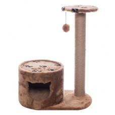 """Домик-когтеточка Yami-Yami """"Джут 95"""", коричневый круглый, с удлинённым столбом, 66x36x79 см"""