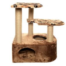 """Домик-когтеточка Yami-Yami """"Атос"""" для крупных кошек, угловой, джут, коричневый, 86x62x97 см"""