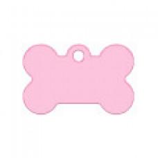 "Адресник Адресник ""Косточка"", алюминий, малая, розовая, 30х12 мм"