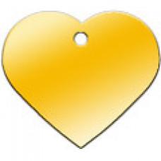 """Адресник Адресник """"Сердце"""", латунь, большое, золотое, 37х35 мм"""