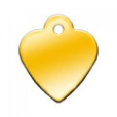 """Адресник Адресник """"Сердце"""", латунь, малое, золотое, 26х29 мм"""