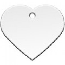 """Адресник Адресник """"Сердце"""", латунь, большое, серебрянное, 37х35 мм"""