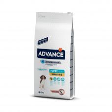 Корм Advance Puppy Sensitive для щенков с чувствительным пищеварением, лосось/рис, 12 кг