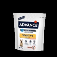 Корм Advance Mini Sensitive для собак малых пород с чувствительным пищеварением, лосось/рис