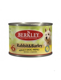 Корм Berkley Adult Rabbit&Barley для собак, №6, кролик/ячмень, банка, 200 г