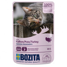 Корм Bozita для кошек, индейка, кусочки в соусе, пауч, 85 г