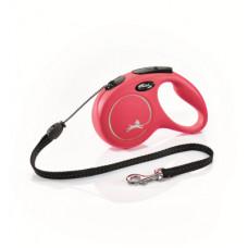 Рулетка Flexi New Classic M, трос, 5 м, до 20 кг, красная