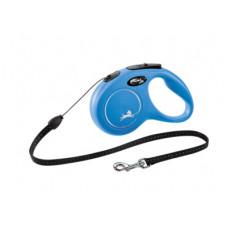 Рулетка Flexi New Classic S, трос, 5 м, до 12 кг, голубая
