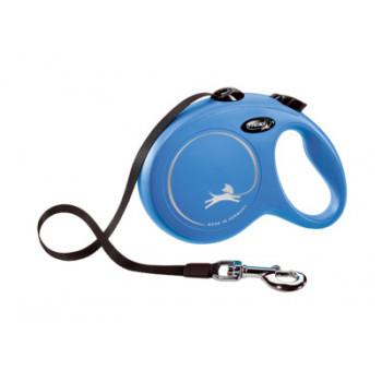 Рулетка Flexi New Classic L, ремень, 5 м, до 50 кг, голубая