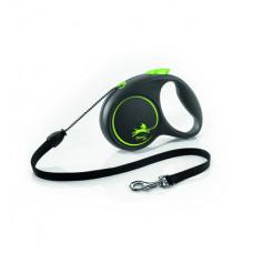 Рулетка Flexi Black Design, трос, зелёная