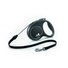 Рулетка Flexi Black Design, трос, чёрная