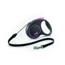 Рулетка Flexi Black Design, трос, розовая