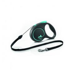 Рулетка Flexi Black Design, трос, синяя
