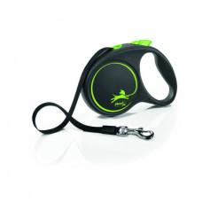 Рулетка Flexi Black Design, ремень, зелёная