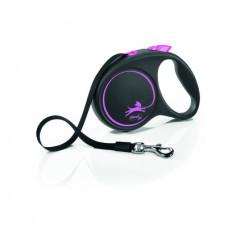 Рулетка Flexi Black Design, ремень, розовая