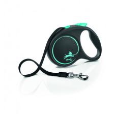 Рулетка Flexi Black Design, ремень, синяя