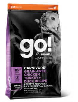 Корм GO! Carnivore GF для пожилых собак всех пород, 4 вида мяса, беззерновой, индейка/курица/лосось/утка