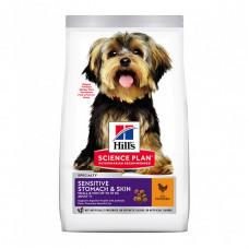 Корм Hills Science Plan Sensitive Stomach & Skin для взрослых собак мелких пород с чувствительной кожей или пищеварением, курица