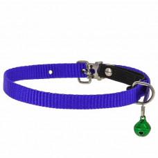 Ошейник Каскад для кошек, нейлон, с бубенчиком и резинкой, синий, ширина - 10 мм, обхват шеи - 35 см