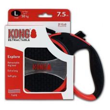 Рулетка Kong Explore, L, для собак, лента, 7.5 м, до 50 кг, красная