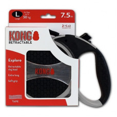 Рулетка Kong Explore, L, для собак, лента, 7.5 м, до 50 кг, серая