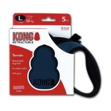 Рулетка Kong Terrain, L, для собак, лента, 5 м, до 50 кг, синяя